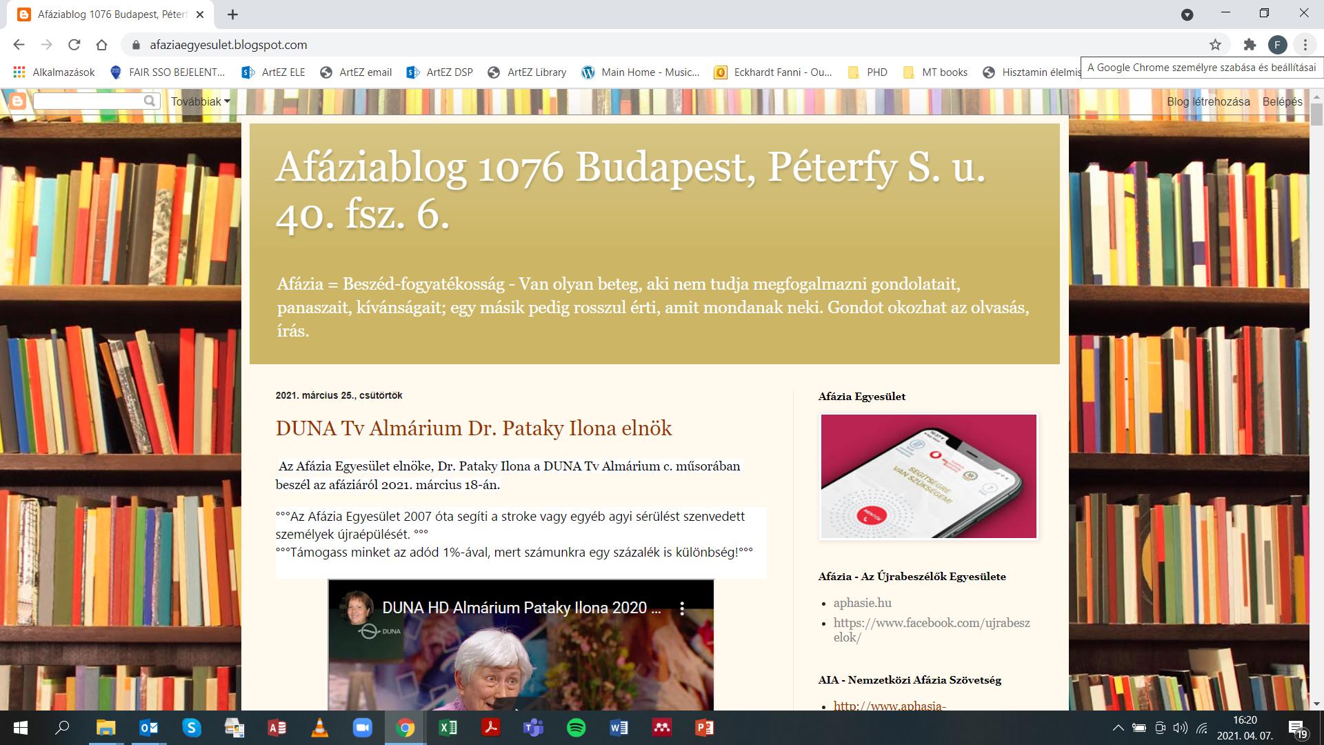 Az Afázia Egyesület régi blog oldala